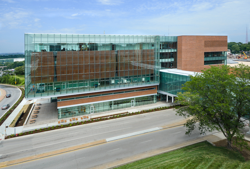 The exterior of the new Health Education Building on the University of Kansas campus