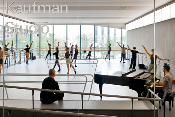 New glass walls make dancers at the Glorya Kaufman Dance Studio visible to neigh