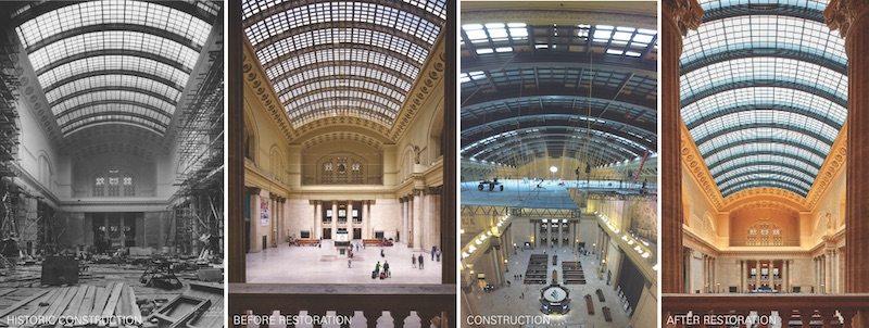 Before and after reconstruction of the sky light