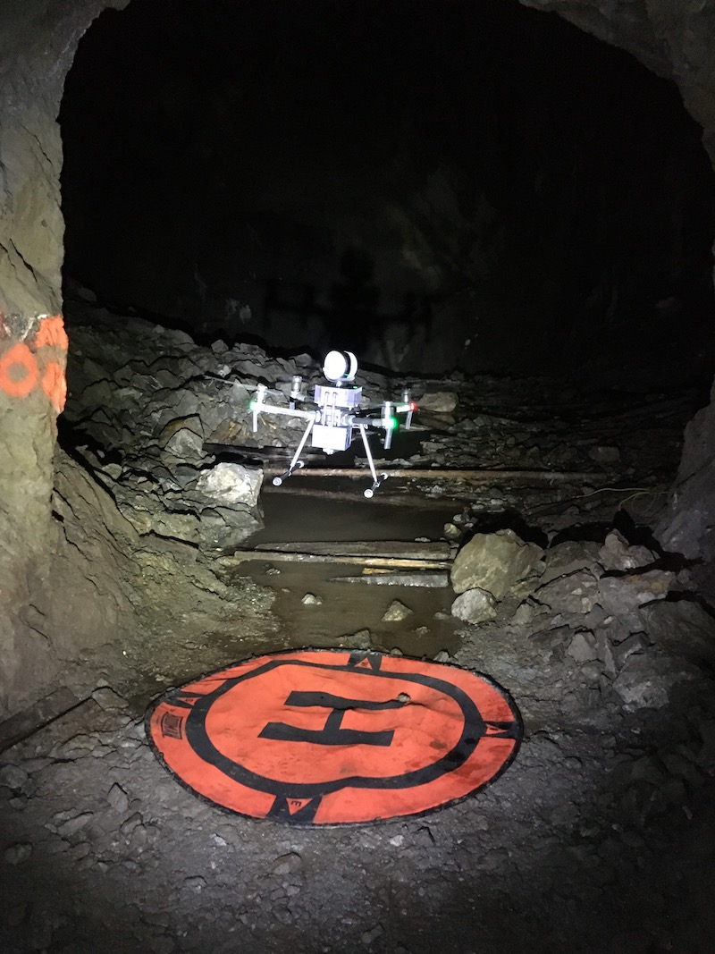 Drone flight in a cave