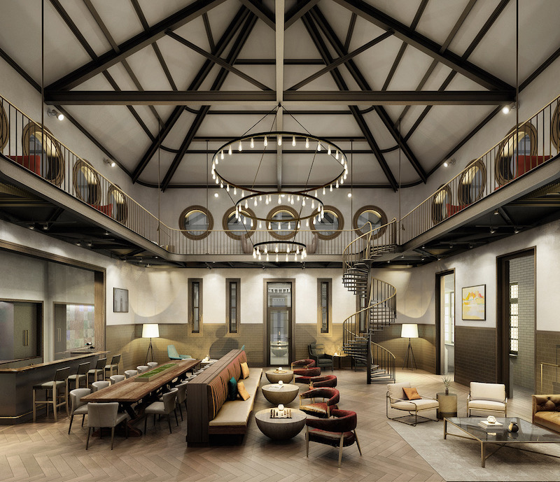 Interior carriage house building