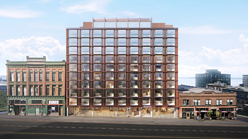 First floor elevation of 11-story Archetype, a mixed-use building under development in Seattle