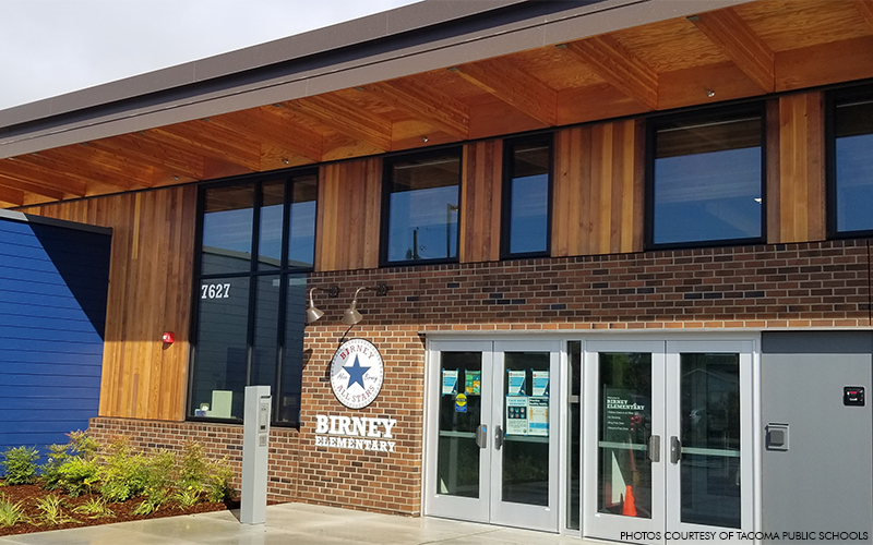 Birney Elementary uses exposed glulam and laminated veneer lumber throughout the school
