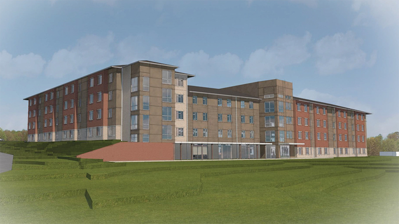 A rendering of the front of the new Blinn College residence hall