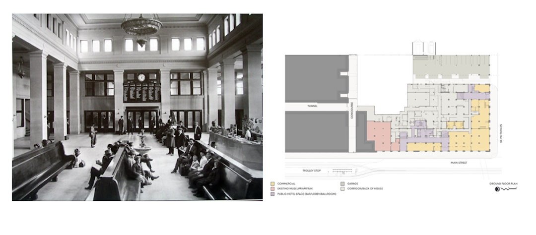 Central Station waiting room ca. 1915 and floor plan. Images: Courtesy LRK