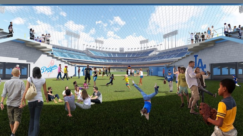 Open field play area beyond centerfield pavilion