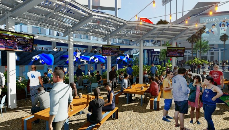 New bar and food area in dodger stadium