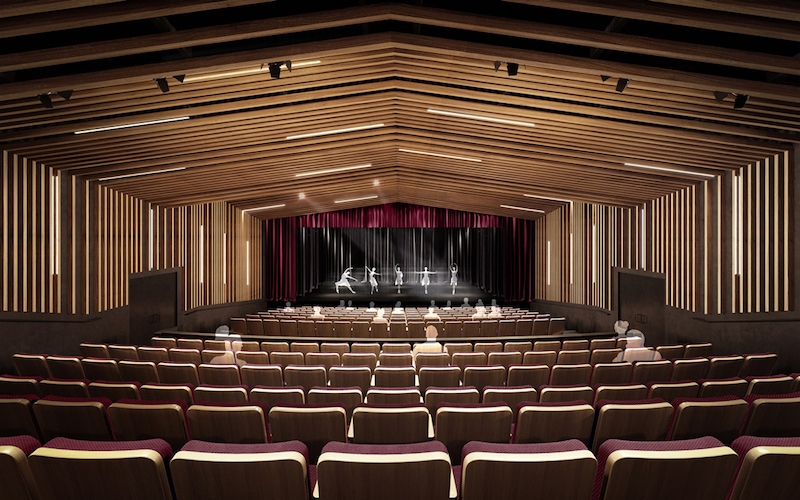 The 300 seat theater in the Glorya Kaufman Performing Arts Center