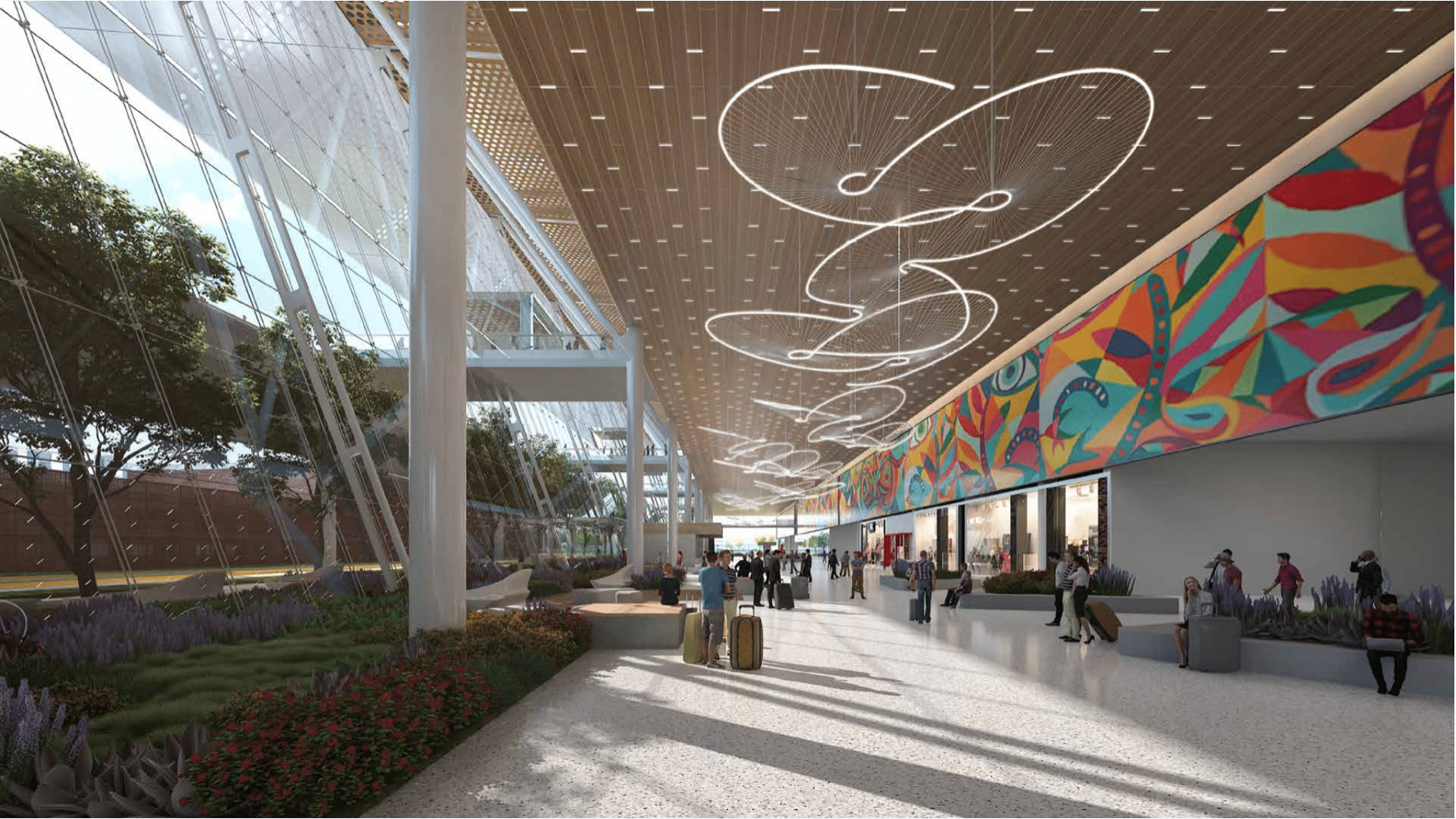 Guadalajara Airport Terminal with local art