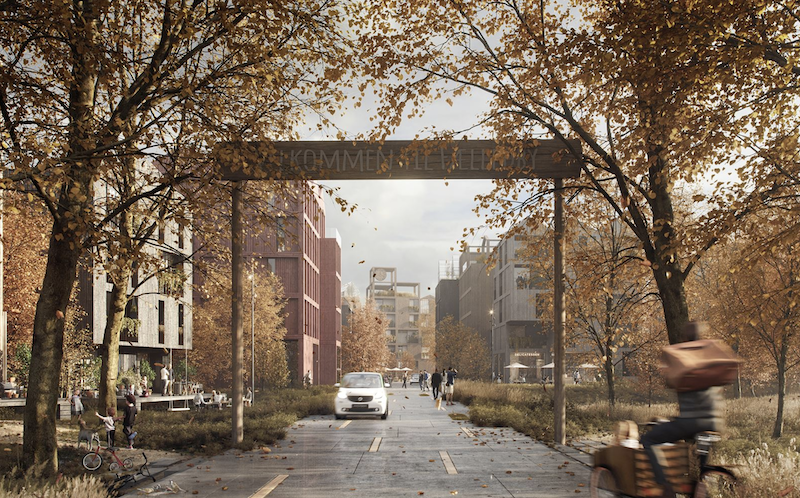Henning Larsen all-timber neighborhood entrance