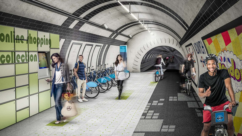 Gensler proposes network of cycle highways in London's unused underground
