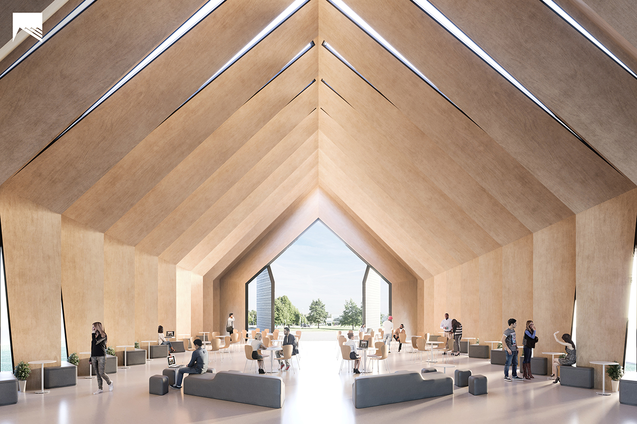 The Longhouse, a sustainable multifunctional prototype engineered as a series of timber laminated veneer lumber arches