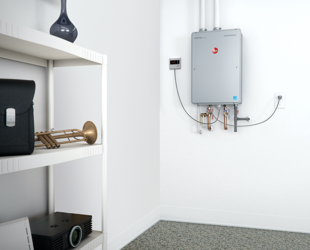 Rheem tankless water heater installed in individual unit