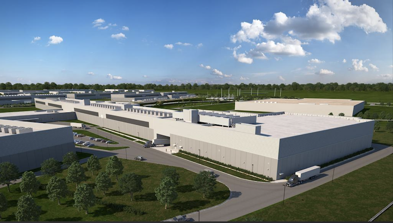 A rendering of Facebook's data center complex in Fort Worth, Texas.