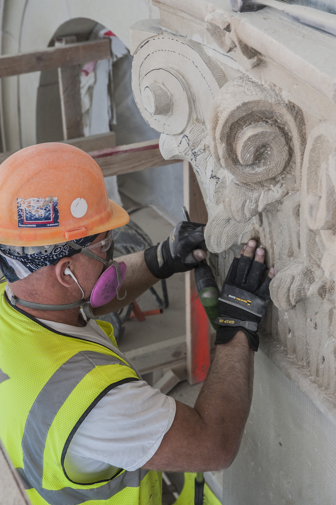 Restoring exterior carved stone elements