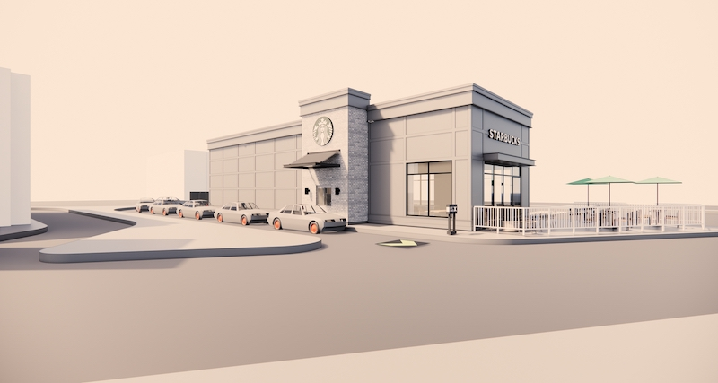 Starbucks exterior rendering in Abbotsford, B.C.