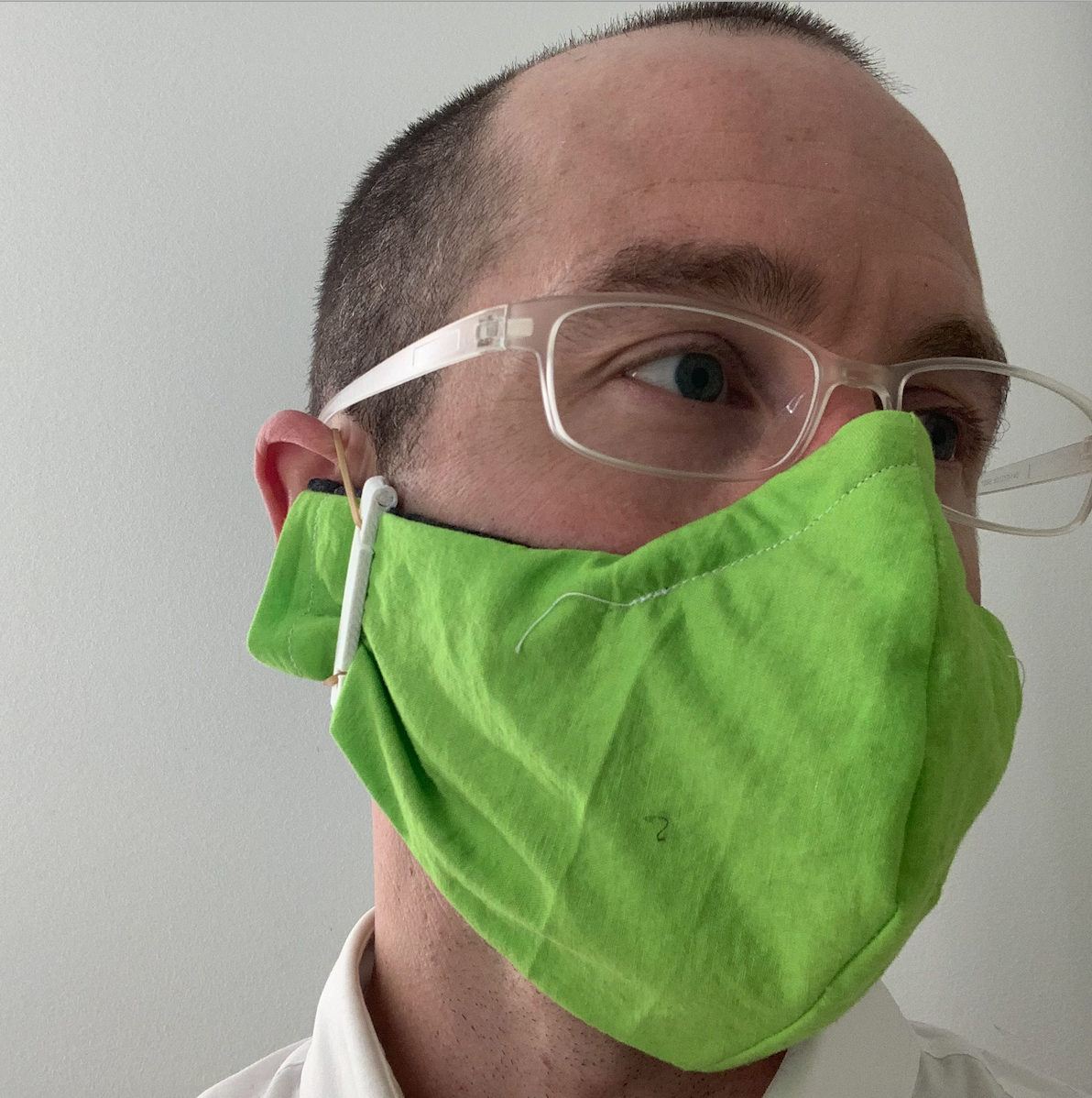 Michael Tunkey wearing DIY prototype face mask