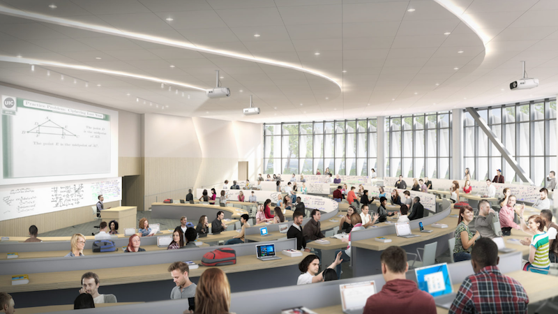 Lecture hall in UIC's new living/learning complex