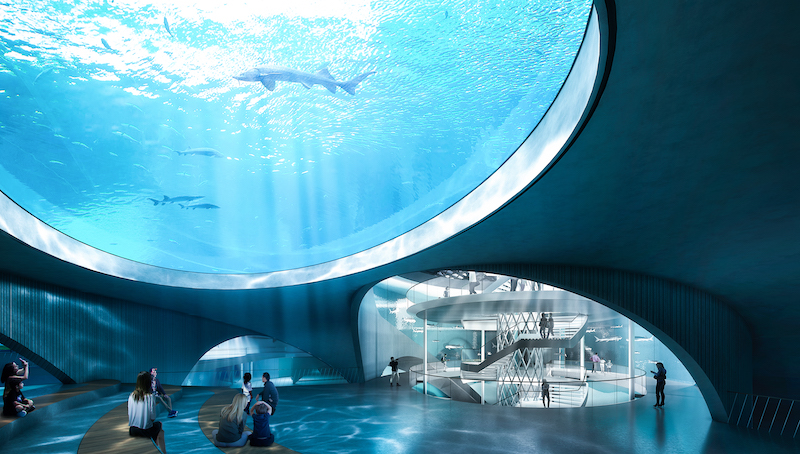 Interior aquarium space designed by Ennead Architects