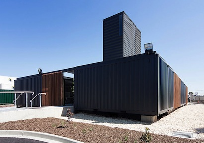 Twenty- and 40-ft shipping containers were used to create an office building for