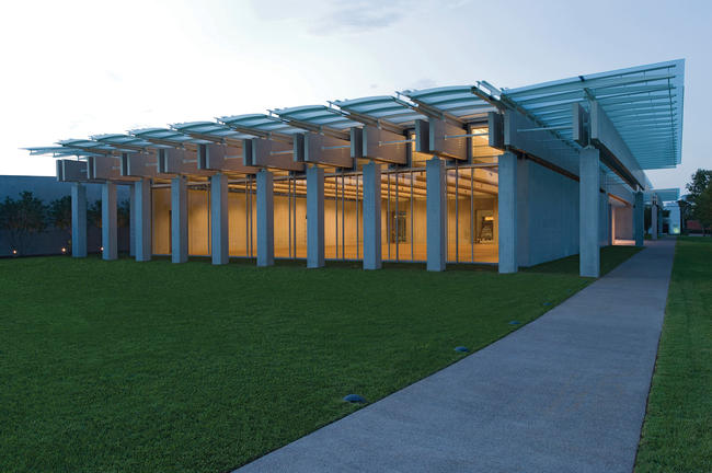 South view, Renzo Piano Pavilion, September 2013. Kimbell Art Museum, Fort Worth