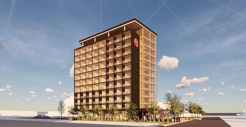 Rendering of mass timber Ramada Hotel
