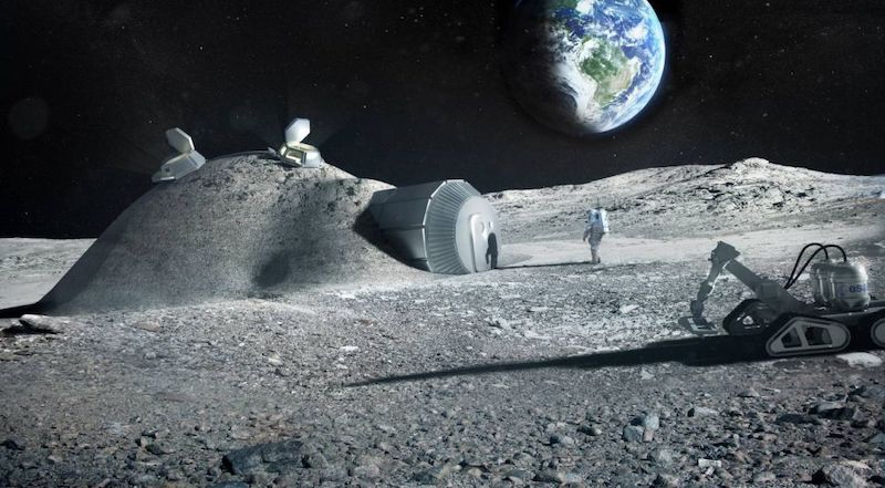 Moon base with astronaut