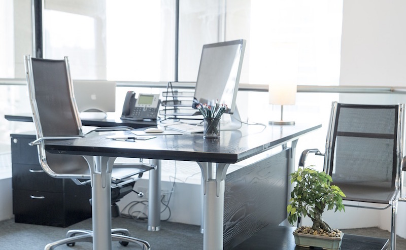 A workspace in an office