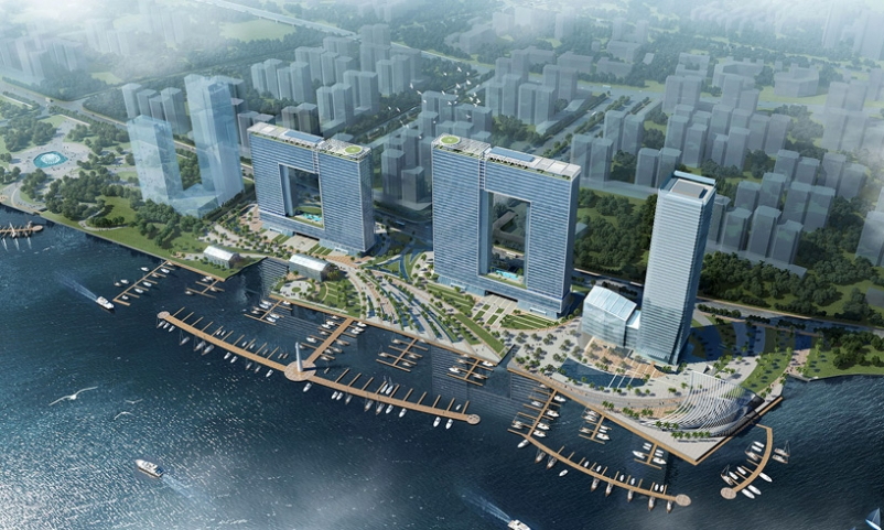 The window-shaped buildings will allow buildings behind them to continue enjoyin