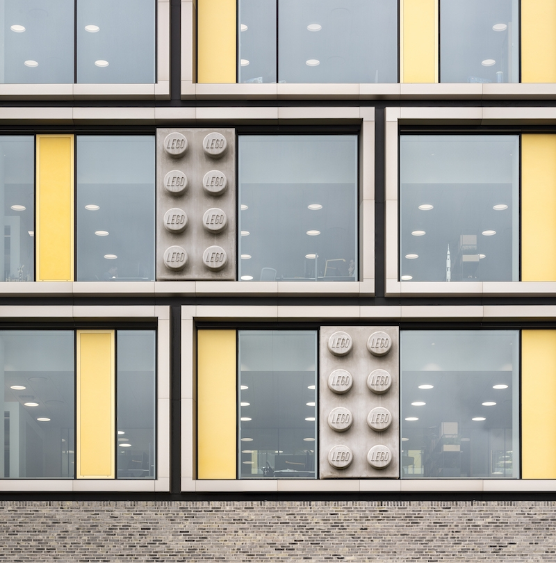 Large LEGO bricks incorporated into the building's facade