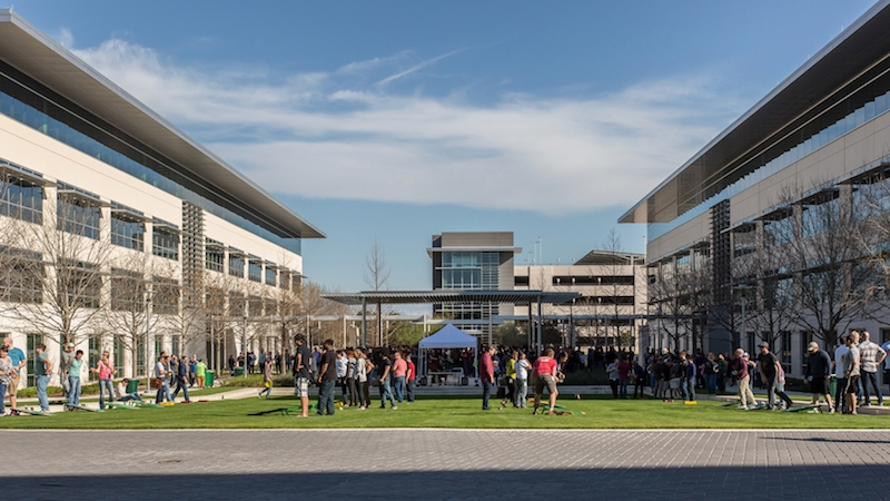 Employees in green space at apple's current Austin location