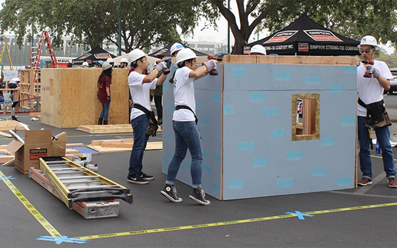 Teams assemble their structures at the Disneyland® Hotel in Anaheim, California