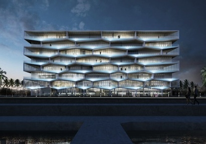 The Honeycomb building will overlook the marina on one side and a plaza on the o