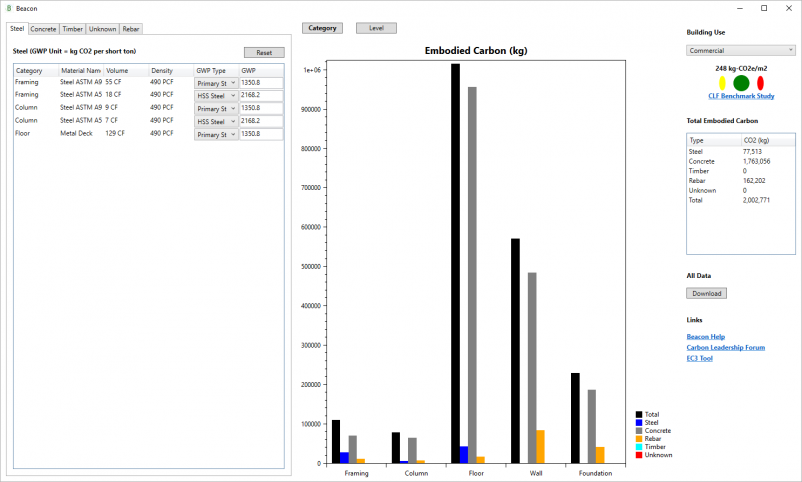 Beacon is a Revit plugin that generates a comprehensive data visualization of a project's embodied carbon.