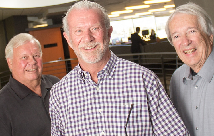 Doug Woods (center), in a 2015 photo with DPR Construction cofounders Ron Davidowski (left) and Peter Nosler. Their business is one of the industry's leading general contractors. Images: DPR