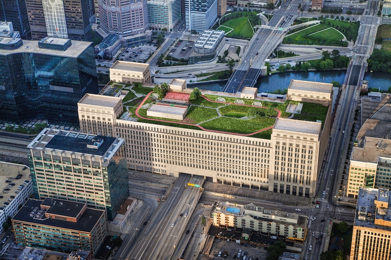 Aerial view of the Post Office redevelopment project with the green roof