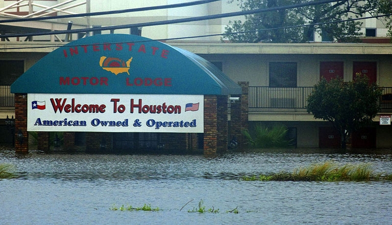 Floodwaters rise at the Interstate Motor Lodge in Houston
