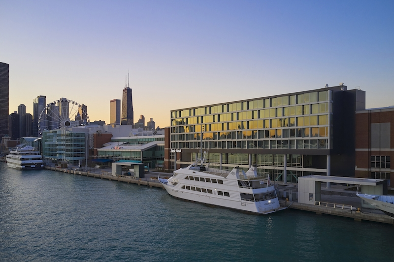 Sable at Navy Pier exterior against the city