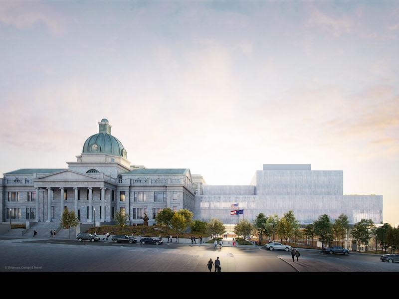 A new Justice Center will be attached to the existing courthouse