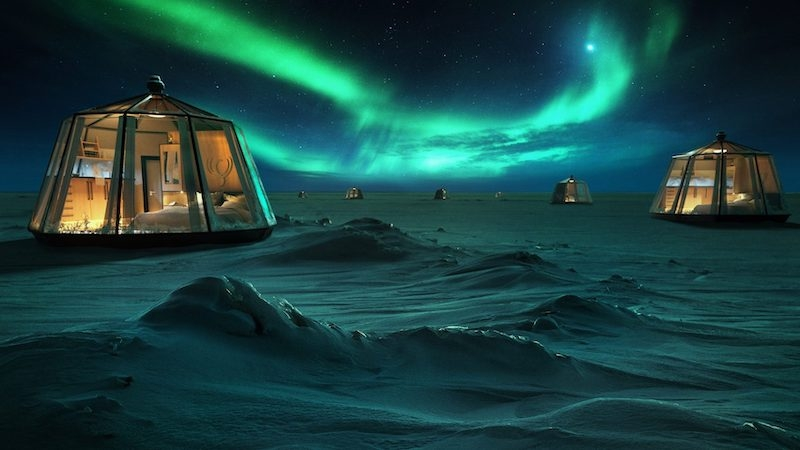 North pole igloo hotel and northern lights