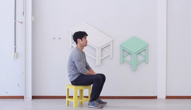 Designer Creates Chairs And Tables That Fold Into Wall Art