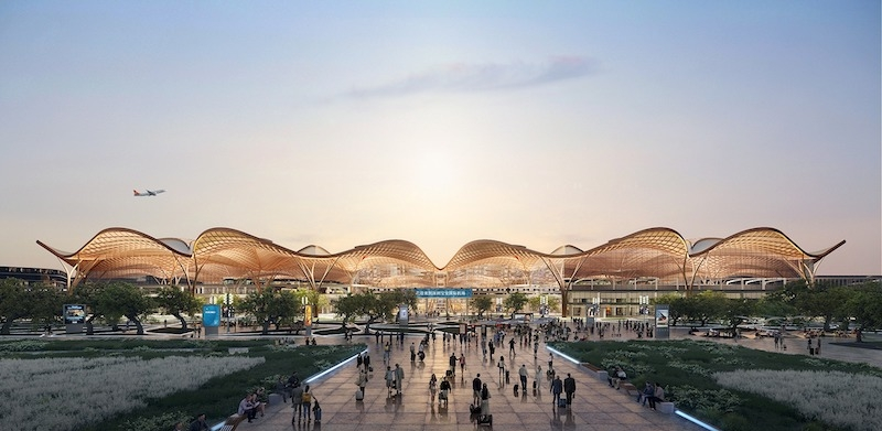 Shenzhen Airport East Integrated Transport Hub exterior at sunset