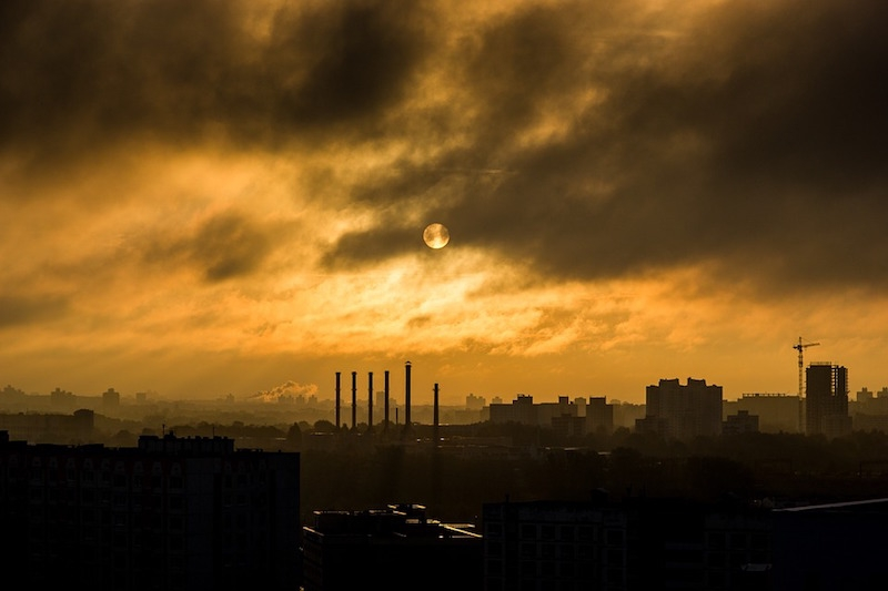 Smog in the sky over a manufacturing facility