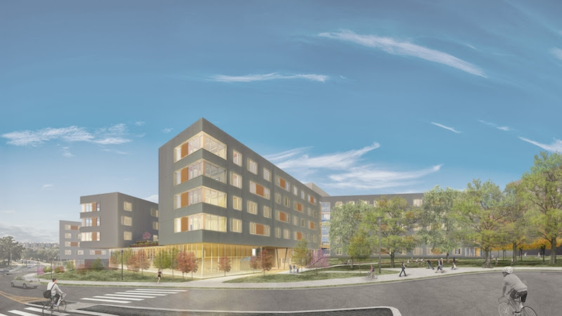 Exterior rendering of Stadium Drive Residence Halls