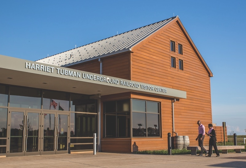 The entry to the Harriet Tubman Underground Railroad Visitor Center