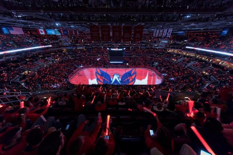 Washington Capitals ice with display projected on it.