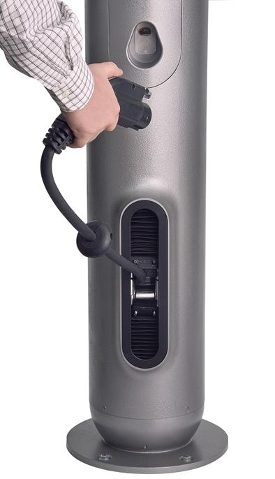 GEs WattStation pedestal EV charger is easy to use, customizable and features a