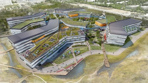 """The new """"Googleplex"""" will feature green roofs and common spaces."""