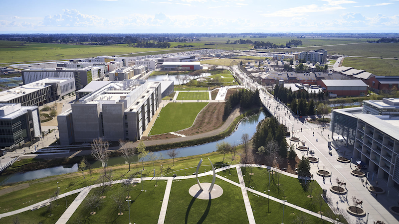 Aerial view of UC Merced's expanded campus.