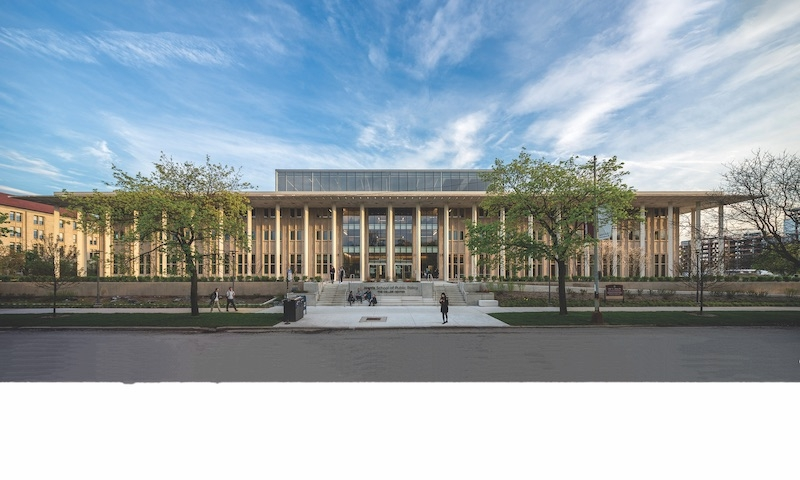 North elevation of the University of Chicago Harris School at the Keller Center